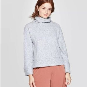 NWT A New Day Turtleneck Fleece Pullover-Gray Med